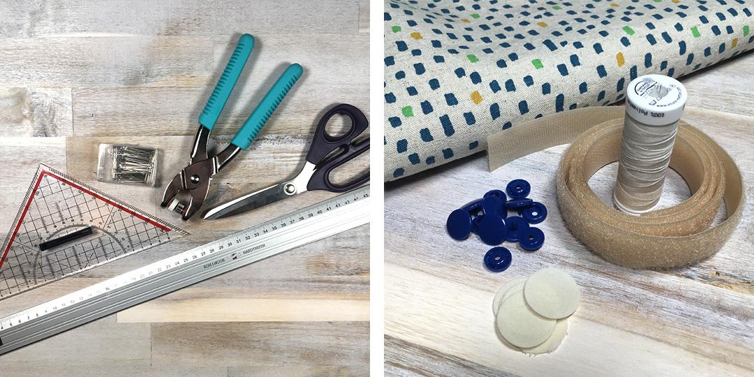 Material und Werkzeug um einen Bezug für Ikea Poäng Kindersessel zu nähen