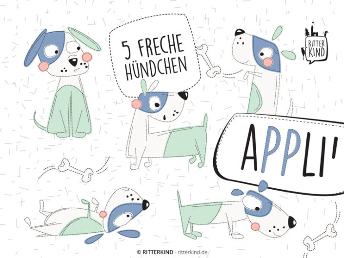 5 FRECHE'HÜNDCHEN Applikationsvorlage eBook