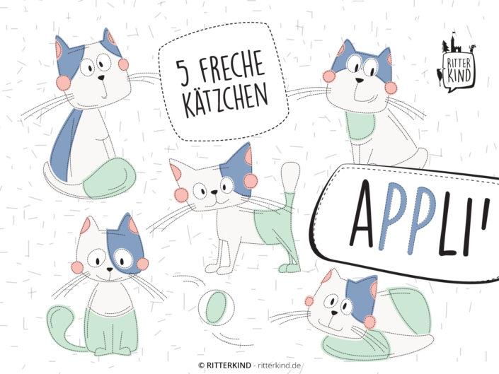 5 FRECHE'KÄTZCHEN Applikationsvorlage PDF eBook Titelbild